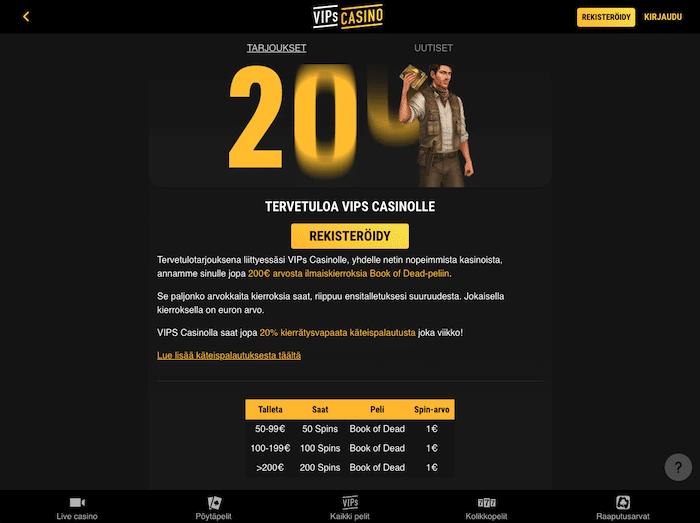 Kuva VIPs Casinon tarjoussivusta