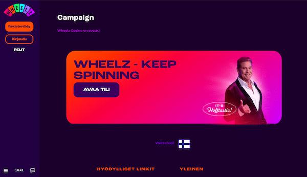 Wheelzin tervetulosivu