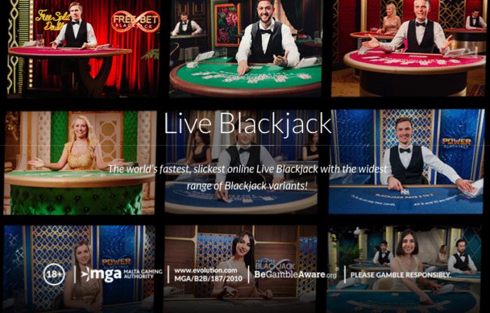 Kuva live-blackjackista